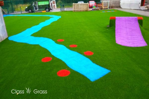 Bright colored artificial grass at Galway Creche