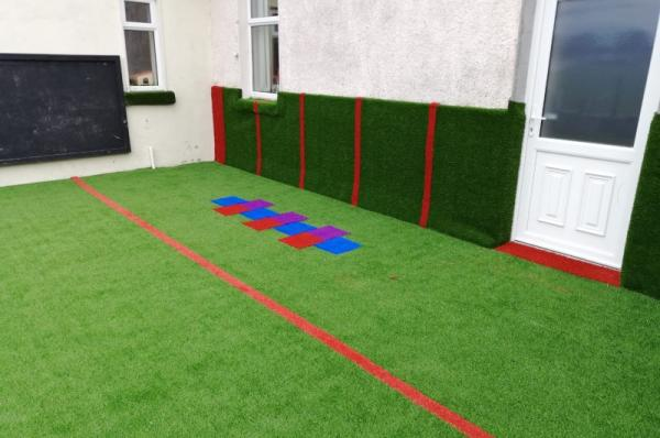 Soft Synthetic Grass Coverings for Window Boards at Creche in Roscommon, Ireland