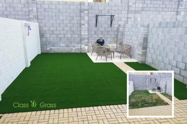 City Backyard Artificial Grass Makeover
