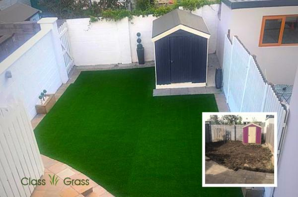 Galway garden Before and After Artificial Grass