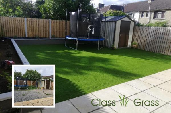 Artificial Grass Lawn and New Flower Beds Dublin