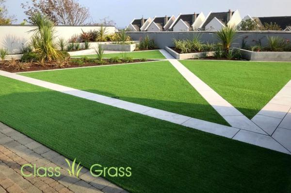 Artificial grass and geometrical garden design