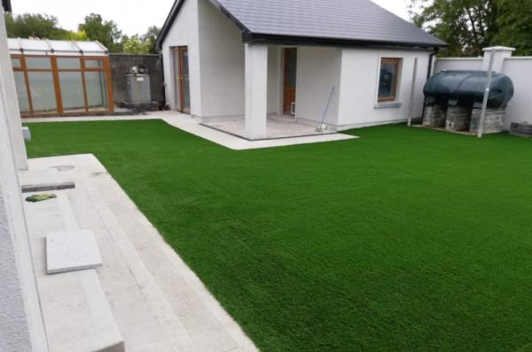 Artificial lawn for a new family home