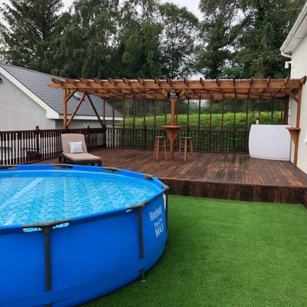 Pool area with artificial grass