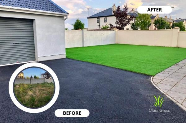 Artificial lawn and tarmac