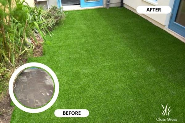 artificial grass on concrete flooring