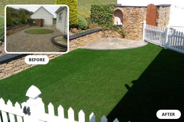 Residential artificial grass garden makeover